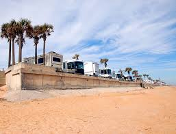 Camping in an RV on the beach in Florida