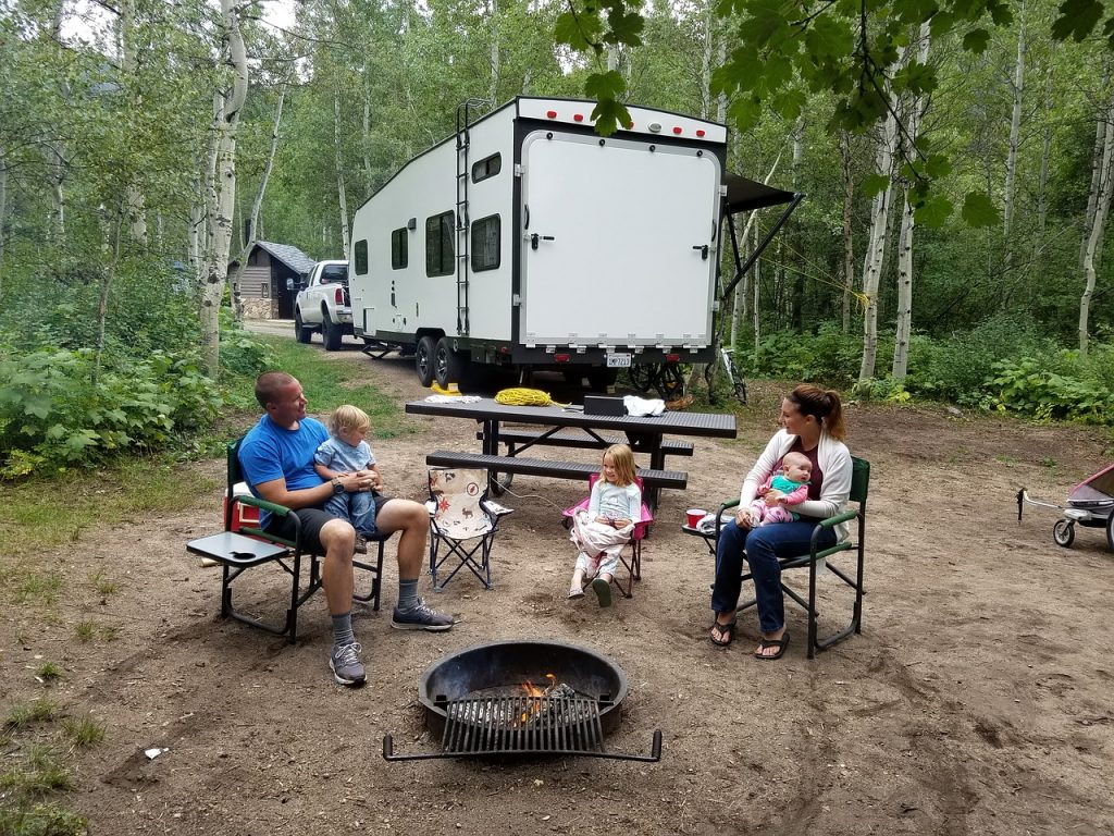 family at their campsite on the east coast