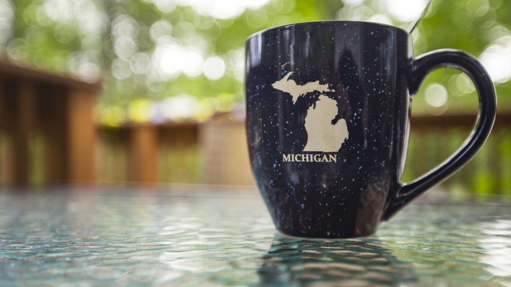 A mug with Michigan on it